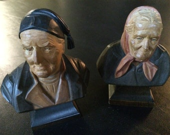 Vintage Set of 2 Male and Female Wooden Doll Heads