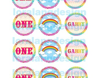 DIY Printable Chevron  Rainbow Cupcake Toppers Favor Tags Party Circles