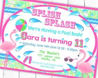 Flamingo Pool Party Invitation - Gwynn Wasson Designs PRINTABLE