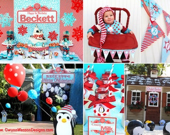 Winter ONEderland Wonderland  Party Decorations - HUGE SET Cupcake Toppers Banner and Much More - Gwynn Wasson Designs PRINTABLES