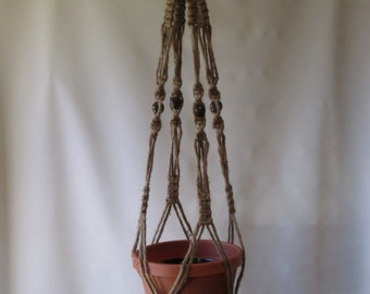 Macrame Plant Hanger Natural Jute Vintage Style 40 inch With Beads