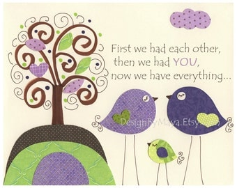 Baby girl Room Decor Nursery Art birds..first we had each other...Violet Green Baby Bird