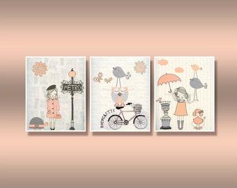 Shabby Chic Nursery Decor, Baby Room Shabby Chic Bonjour For Baby Girl - Paris Nursery art, Set of 3 prints Shabby Chic Light coral And Gray
