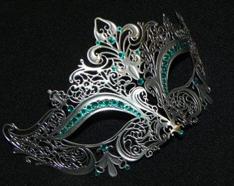 Silver and Teal Halloween Metal Mask