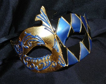 Harlequin Mask in Black, Blue and Gold
