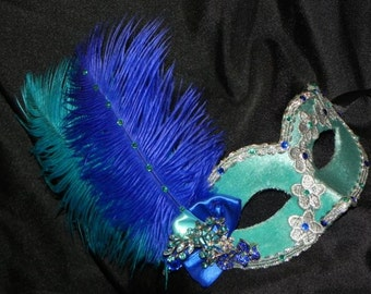 Lace and Feather Masquerade Mask in Royal Blue, Aqua and Silver