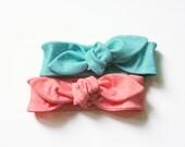 peach and teal polka dot headband set / newborn infant toddler / organic cotton knit headband / stretchy headband / newborn photo  / pastels