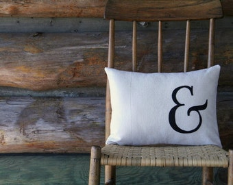 "ampersand pillow cover, typography font pillow, rustic black appliqued, 12"" x 16"", industrial urban farmhouse"