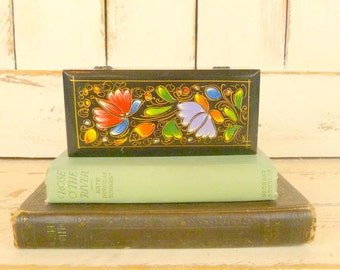 Black painted wooden box/vintage keepsake box/small black floral wooden jewelry box
