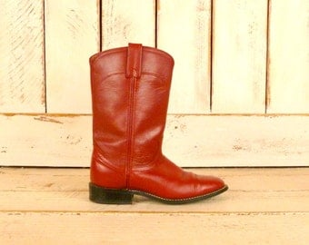 Womens vintage red leather mid calf cowboy boots/western leather boots/6/6.5 narrow