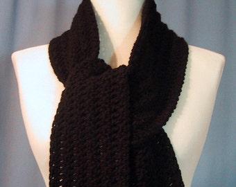 Black Long Scarf - Hand Crocheted - Cozy Warm - Super Soft Acrylic Yarn - Handmade - Unisex - Great Gift - Ready to Ship