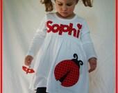 Ladybug Applique Name Dress - Infant Toddler Youth Girl Ladybug Birthday - You Choose Dress Color