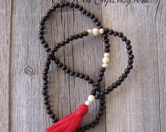 108 Bead Mala, Meditation Necklace, Focus Jewelry, Yoga Jewelry, Tassel Mala