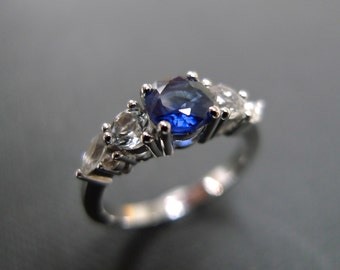 Blue Sapphire and White Sapphire Wedding Ring in 14K White Gold, Marquise Wedding Rings, Sapphire Engagement Rings, Gemstone Custom Design