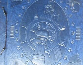 Vintage Large Patriotic Navy Blue Embossed Uncle Sam Scrap Book