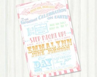 Vintage Carnival Baby Shower Invitation Preemie Baby Shower Bridal Shower Invite Birthday Party Circus Invitation