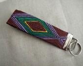 Key fob, key chain, key holder- wristlet-aztec design on nickel hardware