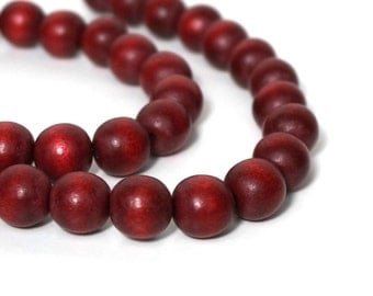12mm round wood beads, rust brown, eco-friendly wooden beads (917R)