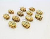 12 Egyptian Scarab Pendants Beads Ceramic Carved hieroglyphics