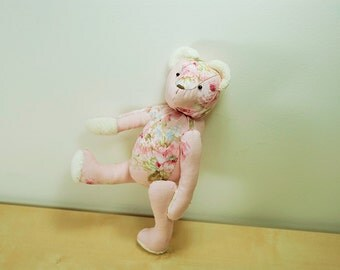 Eco Friendly OOAK Pink Teddy Bear Plush Floral Handmade with Love