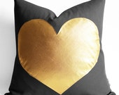 Sukan / Dark Gray and Gold Pillows - white and gold pillow - Gold Foil Heart Pillow - heart shaped pillow online - gold heart pillow