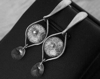 spider metalwork earrings, earstuds, sterling silver earrings, swarovski earrings, silver earclips, rare, raw, hairy, zircon