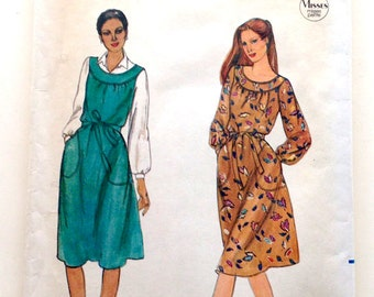 80s Butterick 3964 Loose fitting Dress, or Jumper with Yoke Size 6 Bust 30