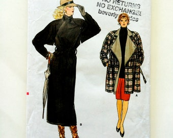 80s Vogue 9694 Long Coat or Hip Length Loose Fitting with Asymmetrical Closing Size 8 10 12 Bust 31 32 34