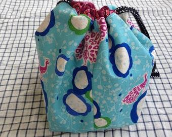 small knitting project bag sock sack (socksack) - peacocks and dots
