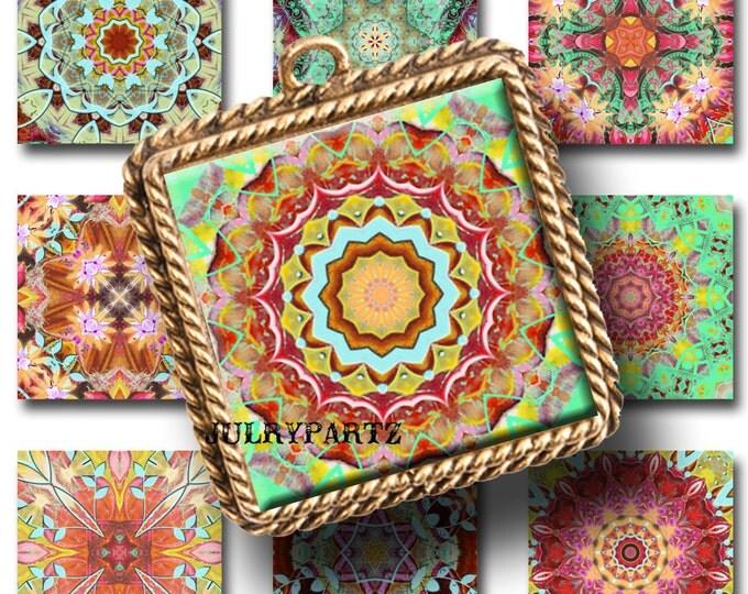 FIESTA DEL SOL, 1x1 Square,Printable Digital Image,Healing Mandalas,Magnets,Gift Tags,Scrabble Tiles,Yoga, Meditation