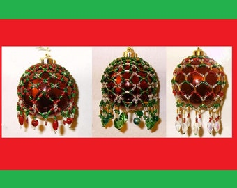 Victorian Inspired Beaded Ornament Cover Patterns - Set of Three (3) Tutorials - Bead Netting - .pdf instant download