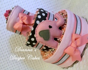 Baby Diaper Cake Elephant Gray and Pink Shower Gift or Centerpiece