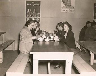 Vintage Photo WWII Women & Men - Lunchroom - Posters -   War Bonds Ad - Forties - 1940's - Old Photo -  Snapshot