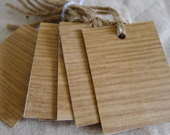 wood is good gift tags II - set of eight - gift wrap - woodgrain - recycled paper - natural gift wrap