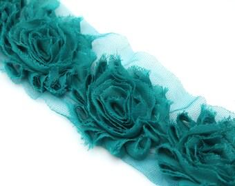 Teal shabby flower trim by the yard - shabby rose trim - wholesale flower trim - shabby trim-rose trim-chiffon trim-you pick length