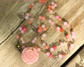 Pink Jade Rose Gemstone & Love Messenger Bird Necklace For Her Handmade Wedding  Bridesmaid Everyday Jewelry Birthday Gift