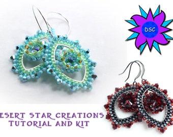 Rivoli Brick Stitch Earrings, Beading Tutorial and Kit, Swarovski Stone Framed Earrings, Brick Stitch Pattern and Beads, Design Laura Graham