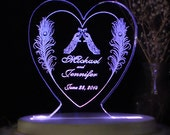Peacock Love Wedding Cake Topper - Acrylic - Personalized - Light Option