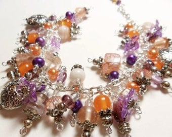 Purple beaded cha cha bracelet with orange and cream - adjustable clasp - chunky jewelry - statement jewelry - bracelet