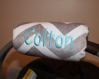 Car seat handle cover, all Minky gray chevron Padded Handle Cover, Personalized Chevron padded handle cover