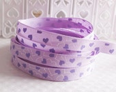 CLEARANCE SALE*FREE Shipping ~ 2 yards x  Grosgrain Ribbon 9 mm Small Purple Hearts Sewing Scrapbooking Hair Bows Sewing Scrapbooking