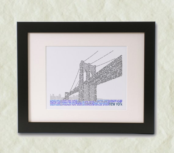 Brooklyn Bridge Word Art Print