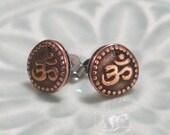 Om Stud Earrings - Antique Copper