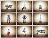 ON SALE Set of 9 CANVAS prints Retro Space Rockets, Rayguns and Robots, Sci Fi Decor, Boys Room Decor,