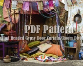 Bohemian Door Curtain, Room Divider PDF Pattern, Tutorial, Instructions to Make this Hanging Beaded Hippie Home Accessory