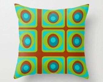 Throw Pillow,Decorative Throw Pillows,Cool Pillow, Modern Pillow, Mod Pillow, Modern Cushion,Turquoise & Brown Throw Pillow.
