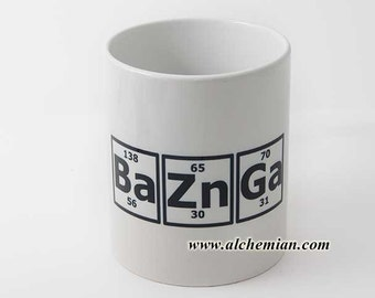 Bazinga! Sheldon Cooper quote, periodic table, mug