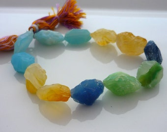 Blue, green & yellow hammer faceted agate oval beads 16-20mm 1/2 strand