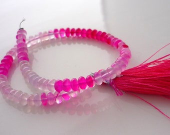 Mottled pink chalcedony smooth polished rondelle beads 4mm 1/2 strand