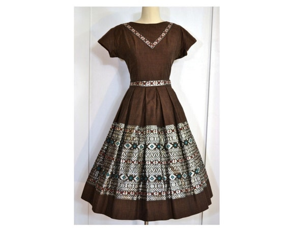 Vintage Patio Set // 2 Piece Top and Skirt Outfit //  Brown with Silver, Red and Green Embellishments, Sz M